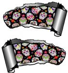 Small Pair Ripped Torn Metal Gash Design & Mexican Sugar Skull Pattern Vinyl Car Sticker 93x50mm ea